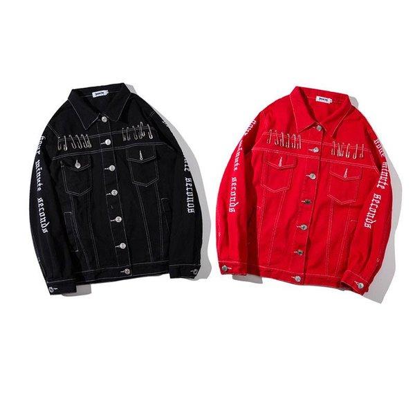 Вышивка Письмо печать Человек Черная красная ковбойская куртка корейского издания Ремонт тела Свободное время Свободные пальто мода молодежная куртка