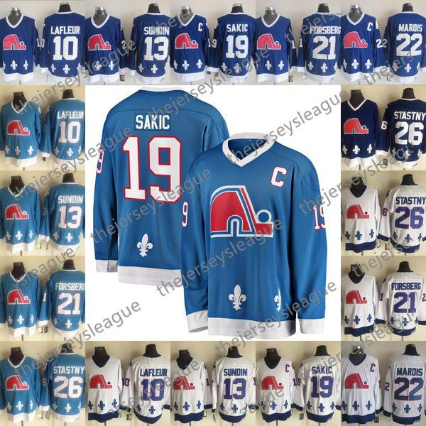 Quebec Nordiques # 10 Guy Lafleur 13 Mats Sundin 19 Joe Sakic 21 Peter Forsberg 26 Peter Stastny Marois Jersey de hockey azul blanco vintage