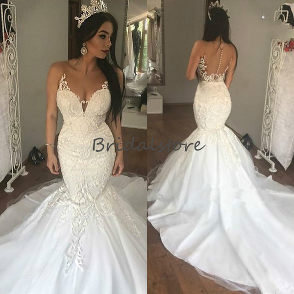 Princess Ivory mermaid shape wedding dresses Sheer Neck sleeveless Button Back bridal gowns 2019 elegant long train vestido de novia cheap