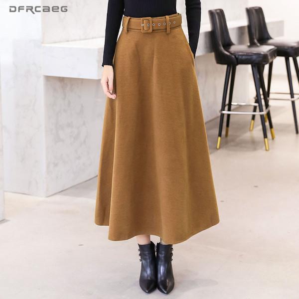 Lã Maxi saias femininas inverno com Belt 2019 Moda de lã Vintage saia Feminino Streetwear Casual Saia Longa Wine Red V191018