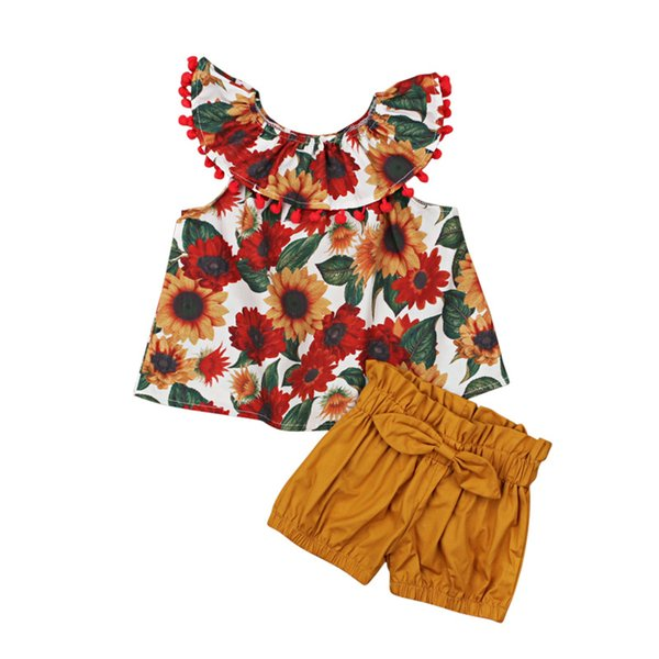 2019 summer baby girl clothing sets sleeveless lotus leaf collar flower cute top + bow shorts two-piece children's wear ins fashion