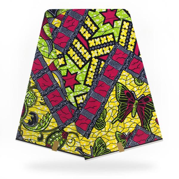 Afrika SÜPER gerçek balmumu blok baskılar gerçek Hollandais hollandalı tarzı balmumu Ankara baskılı kumaş 6 metre pamuk tasarım H9031501