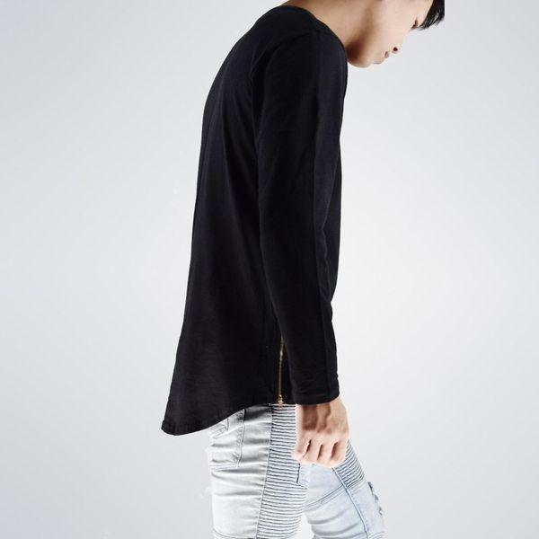 fashion street wear t shirt men extend swag side zip tshirt super longline long sleeve t shirts with curve hem and zip kawaii