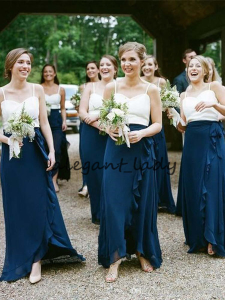 Two Tone Country Long Bridesmaid Dresses 2019 Spaghetti Chiffon Ruffles Country Junior Maid of Honor Wedding Guest Party Gown Cheap
