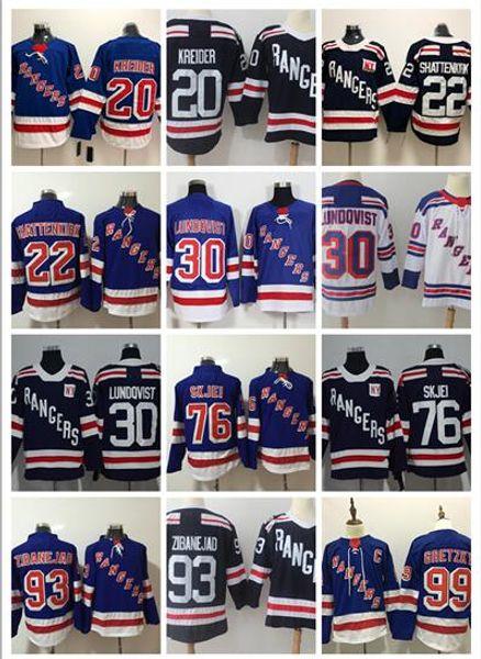 Men 2019-2020 Stitched adlads Rangers #76 SKJEI #10 MILLER #11 MESSIER #20 KREIDER #22 SHATTENKIRK #99 GRETZKY White Blue Hockey Jerseys Ice