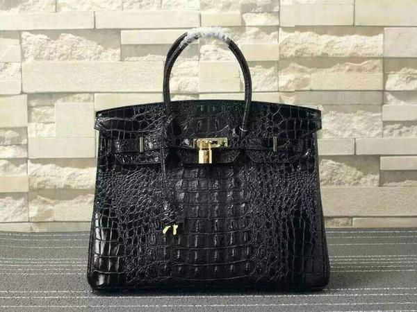 Mode 24k Designer Gold Handtasche Hamz Knochenmuster Leder Hardware 25cm Taschen Großhandel Handtaschen Echtes 35cm Krokodil Totes Luxus 30cm nwOPk0