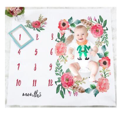 Girls Boys Blanket Photo Photography Prop Blankets Backdrop Cloth Calendar Bebe Letters Numbers Photo Accessories 100x100cm Newborns Rug
