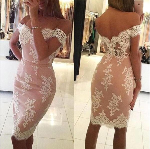 2019 Short Cocktail Homecoming Dresses Sheath Off Shoulder Zipper Applique Lace Knee Length Belt Party Pageant Formal Bridesmaid Dress Sexy