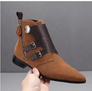 2019 design de luxe Martin botte Jumble cuir plat de veau Bottine Brown fleur bottes d'hiver pour les femmes côté coup de pouce de combat zip 7 couleurs M03