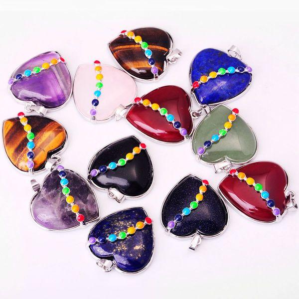 7 Colgantes de piedra natural en forma de corazón de cristal chakra curativo Chakra Reiki amor encanto a granel para la joyería Amatista turquesa