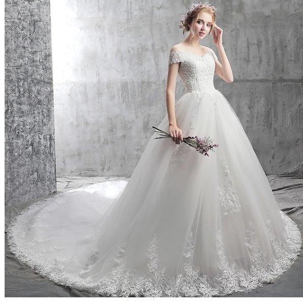 Backless Beach Wedding Dresses Fashion Shoulder White Backless bandage large Tail Lace Applique Nail Bead Church Wedding Dresses HY114