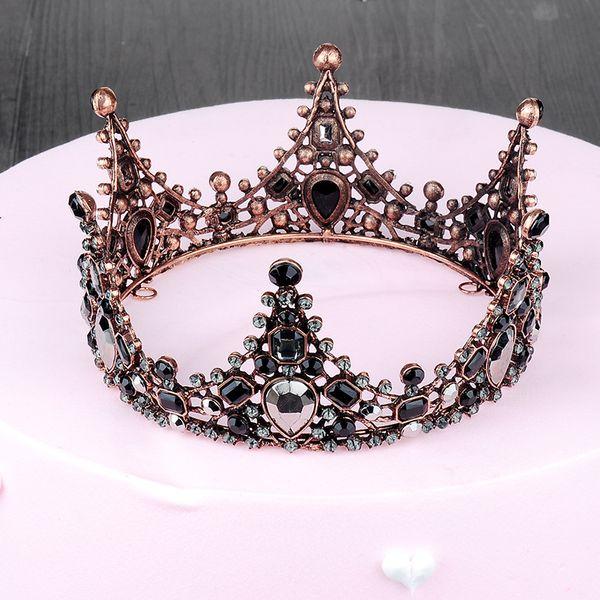 Baroque Black Bridal Crowns Crystal Gothic Wedding Tiaras Rhinestone Rose Gold Plated Cheap Hot Sale Wedding Hair Accessories