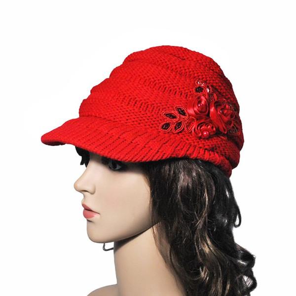 Bonnet à tricoter pour dame de ski pour femme, fantaisie, fleur, hiver, chapeau chaud en visière