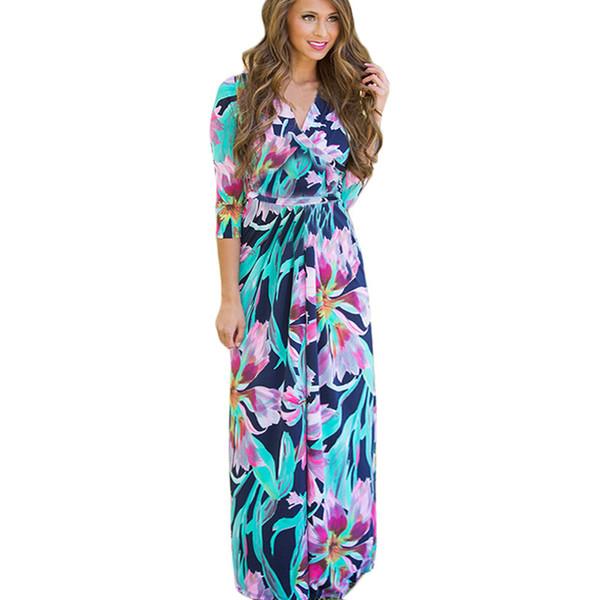 Summer Floral Print Maxi Dress Femmes Boho New Long Beach Sexy Soirée Longue Soirée Bandage Moulante Robes De Mode Plus La Taille XXL Vestidos