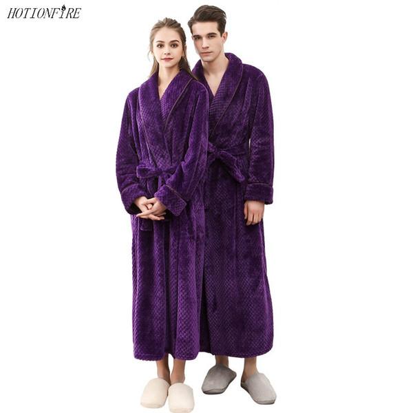 Mujeres Hombres Albornoces Invierno Otoño Primavera Ropa de dormir Bata larga Hotel Spa suave Camisón Kimono Cariño Tobillo-longitud Bata de equipo