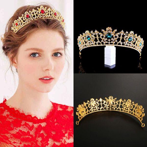 Barock Fehler Rot Grün Strass Golden Crown Braut Diademe Kristall Festzug Diadem Schleier Tiara Stirnband Hochzeit Haarschmuck