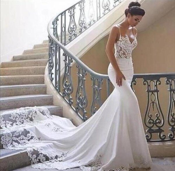 Vestido De Noiva Spaghetti cinghie Mermaid Abiti da sposa Estate boho Collo alto Sheer Lace Applique Backless Abiti da sposa
