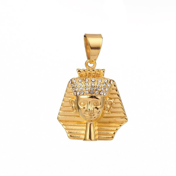 """wholesale Stainless Steel Pendants Pharaoh Avatar Gold Clear Rhinestone Jewelry DIY Findings 45mm x 30mm(1 1/8""""), 1 Piece"""