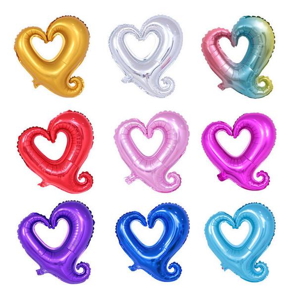 18 Zoll aushöhlen herzförmige Ballons Kinder Air Helium Ballon Hochzeit Valentinstag Partydekorationen Geburtstag Jubiläum Ballon