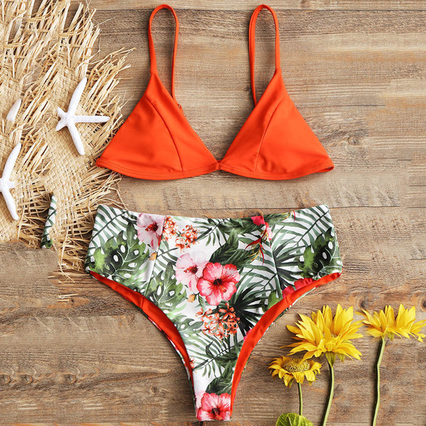 Women Floral Print Push-Up Padded Bra Beach Bikini Set Swimsuit Beachwear Swimwear Mid Waist Bikini Push Up Female 2019 Mujer