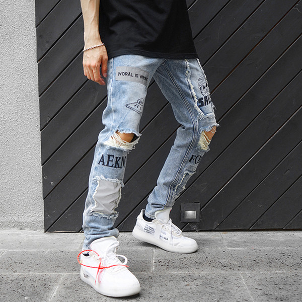 Reflective Men Skinny Ripped Jeans 2018 Vintage Biker Jogger Distressed Hole Baggy Denim Slim Fit Casual Pants Y190418