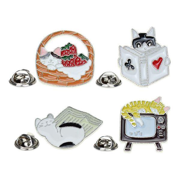 1PC New Harajuku Cartoon Enamel Cat Brooch Clothes Coat Decorated Neck Brooch Pins Metal Lapel Pin Badge