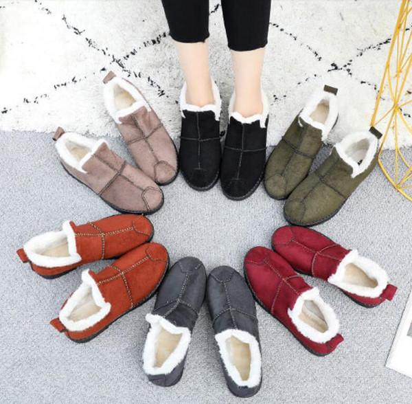 2019 Kar Süet Bilek Boots Kadınlar Flats Kış Sıcak Kış Kısa Çizme Yeni Moda Süet Kürk Peluş Ayakkabı Boyut 35-40