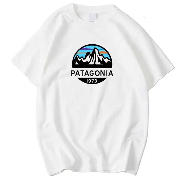 Дизайнер Patagonia Mountain печати Мужские Футболки с коротким рукавом O шеи Пары Tops моды сплошной цвет Homme тройники