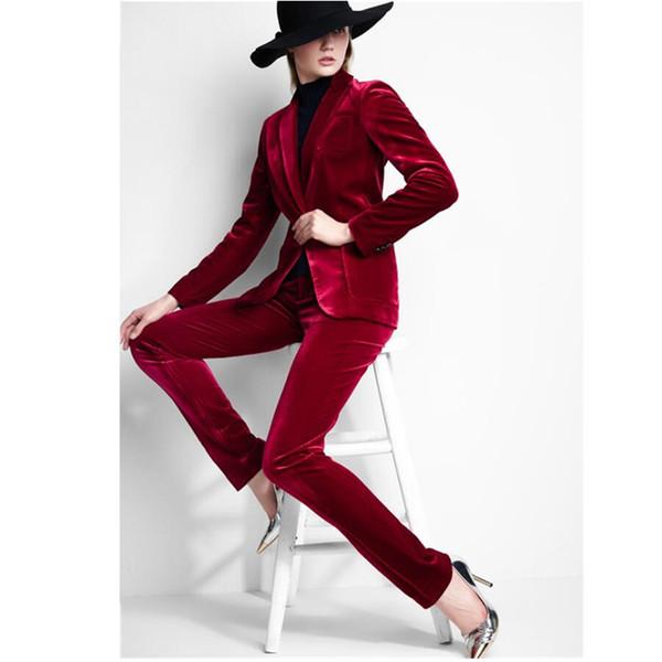 Women suit dress Velvet Women Ladies Business Office Tuxedos Formal Work Wear New Fashion Suits Jacket+Pants