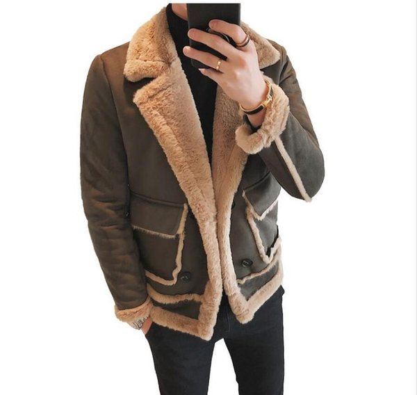 Winter Bomber Jackets Men Army Outerwear Fashion mens jacket brand Soft suede cotton thick fur collar warm malexlcanada