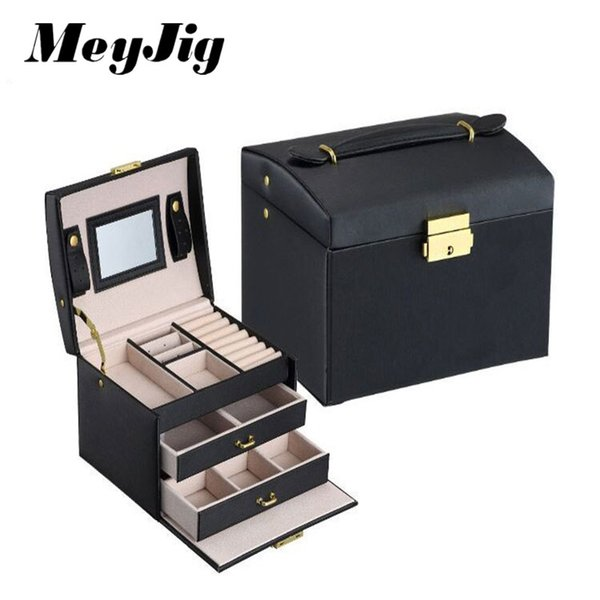 MeyJig Jewelry Packaging Box Casket Box For Exquisite Makeup Case Jewelry Organizer Container Storage Boxes Birthday Gift