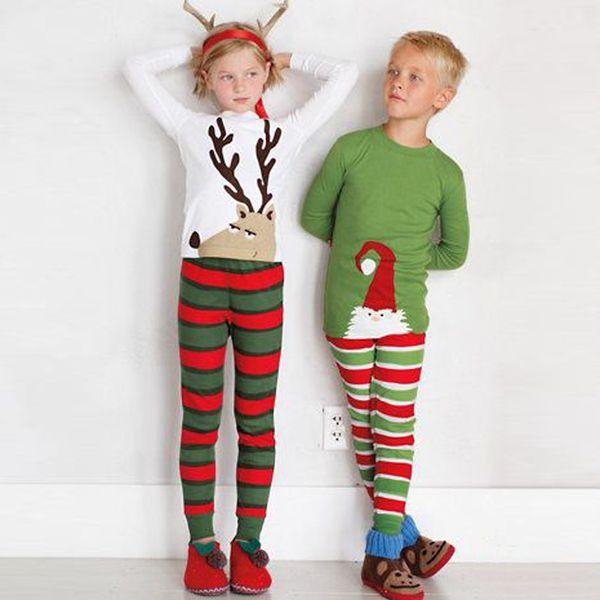 Дети Рождество Пижама наборы Хлопок Дети Baby Boy Girl, Xmas ОЛЕНЬ пижамы Малыш Ночное Пижамы Одежда