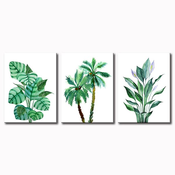 2020 3 Panels Modern Nordic Palm Plant Tropical Leaves Monstera Canvas Painting Minimalist Prints Wall Art Pictures For Living Room Home Decor From Djsylife 38 84 Dhgate Com Hand painted tropical leaves border. 2020 3 panels modern nordic palm plant