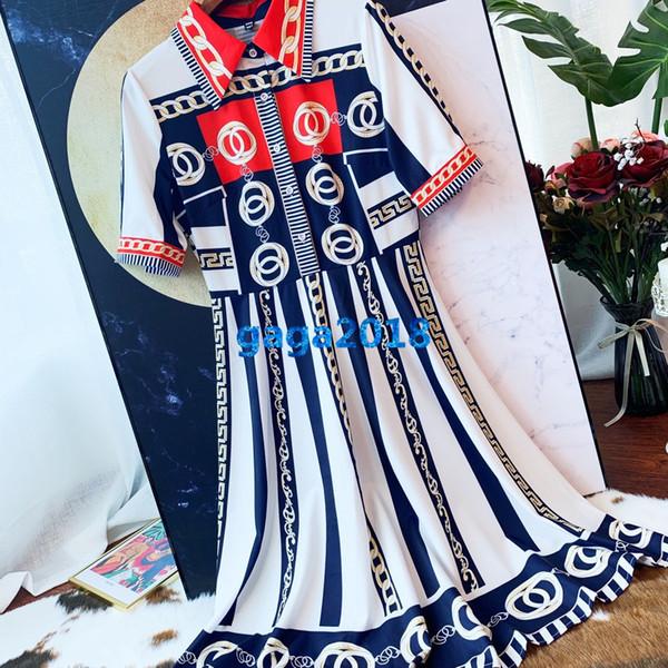 women girl shirt dress chain striped letter print lapel neck short sleeve a-line trumpet midi skirt high end custom fashion luxury dresses
