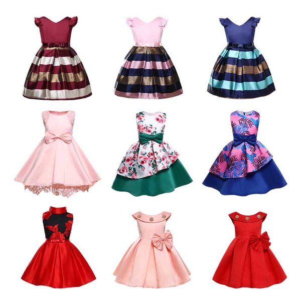 Girl Princess Mesh Dress Cotton Baby A-line Skirt Formal Dress Striped Small Flying Sleeve Knee-Length V-Neck 21 Colors 40