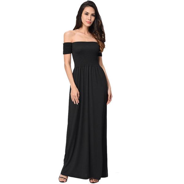 Vestido largo de las mujeres detalle del volante sexy fuera de la playa del verano vestidos de fiesta de manga corta de verano vestido maxi sólido #EP