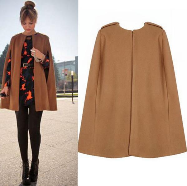 2019 женщин теплый элегантный сплошной пончо куртка осень весна верблюд / черный плащ верхняя одежда свободные крыла летучей мыши тонкий плащ пальто и пиджаки