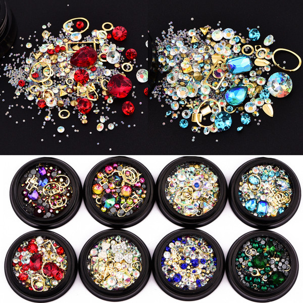 best selling Woman 3D DIY Nail Art Decorations Beauty Magic Crystal Rhinestone Gem Stone Geometry Cross Design Jewelry Accessory Nail Charms Tool 4cm Box