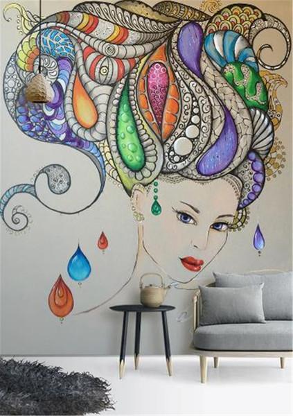 Acheter Peinture Murale à L Huile Personnalisée 3d Promotion Du Couloir 3d De La Peinture à L Huile Abstraite Beauté Papier Peint Personnalisé Pour