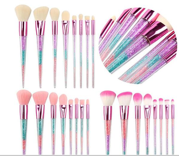 8Pcs Cepillo de maquillaje de base sintética colorida con mango de cristal Polvo facial Blush Sombra de ojos Pinceles Kit de cepillo de maquillaje de viaje