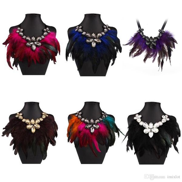 2018 New Fashion Feather Big Chunky Crystal Necklaces Koly Collie Collares Maxi Statement Necklace Women Jewelry