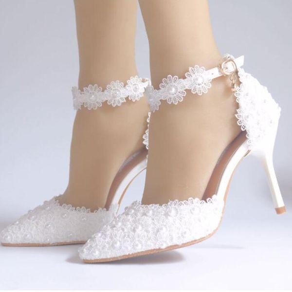 Newest Crystal Rhinestone Lace Shiny High Heel Female Ladies Women Bridal Evening Prom Party Wedding Bridesmaid Shoes