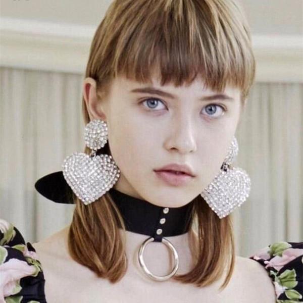 Bella lucido con strass grande cuore ciondola gli orecchini di goccia per le donne Monili di marca di modo Visualizza Dichiarazione Orecchini Accessori