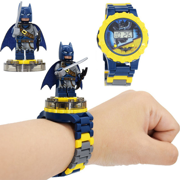 top popular Super hero Watches DC Marvel Avengers Action Figure Toys Cartoon Building Block Watch for kids toys Christmas Gift With Box Package 65 2019
