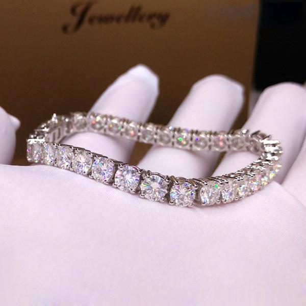 Trendy Style Solid 9K 375 White Gold 18 s ct 5mm DF Color Moissanite Diamond Bracelet For Women Test Positive