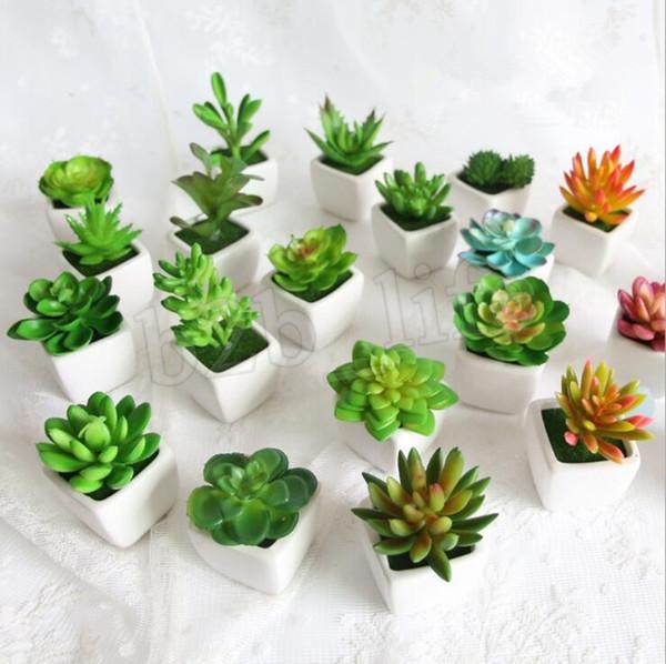 Artificial Potted Plant Portable Mini Simulation Succulents Tropical Cactus Lifelike Fake Flower Vase Bonsai Office Home Decor MMA1671