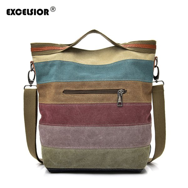 Excelsior Casual Women's Bag Handbag For Womens Quality Canvas Crossbody Bag Patchwork Big Capacity Handbag Sac A Main Multi Use Y190626