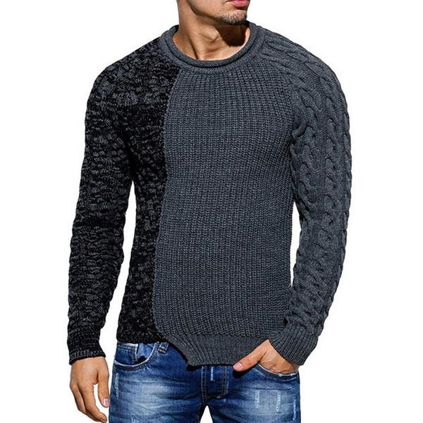 Los hombres de la manera redonda del color del cuello de la personalidad a juego salvaje delgado suéter suéter suéter delgado versátil