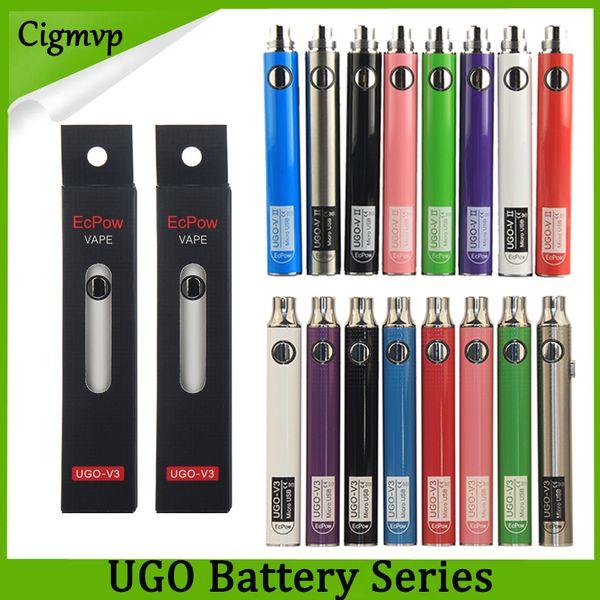 Autentica batteria Evod UGO 650mAh 900mAh Ego 510 8colors Micro carica USB rugosa Passa però E-cig Pen Vape Battery Vs Vision Spinner Law