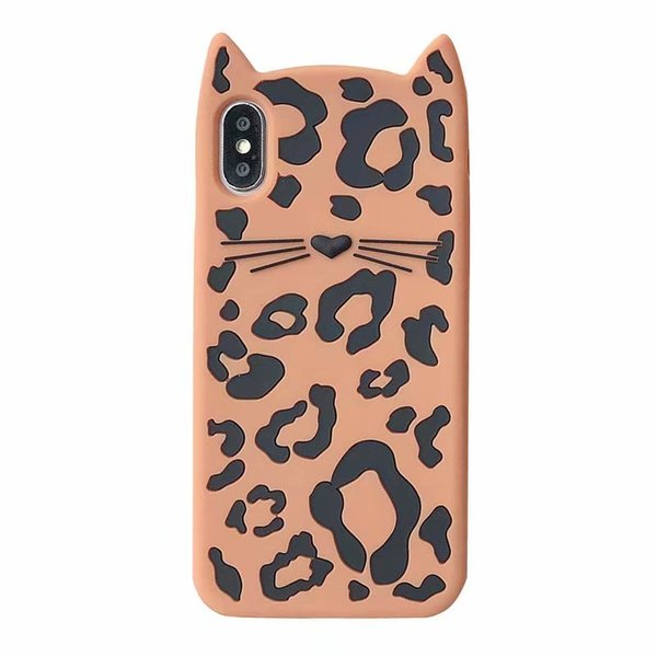 For Iphone XR XS MAX X 10 8 7 Plus 6 6S 3D Cat Leopard Grain Soft Silicone Case Designer Luxury Animal Brand Rubber Cute Lovely Phone Cover